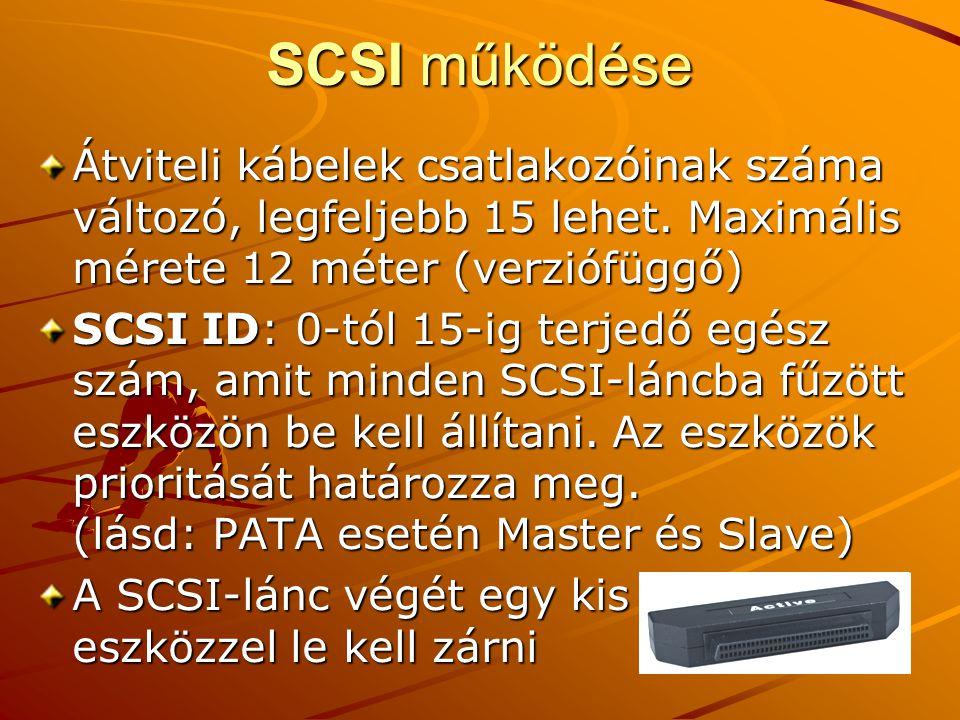 SCSI működése Átviteli kábelek csatlakozóinak száma változó, legfeljebb 15 lehet. Maximális mérete 12 méter (verziófüggő)