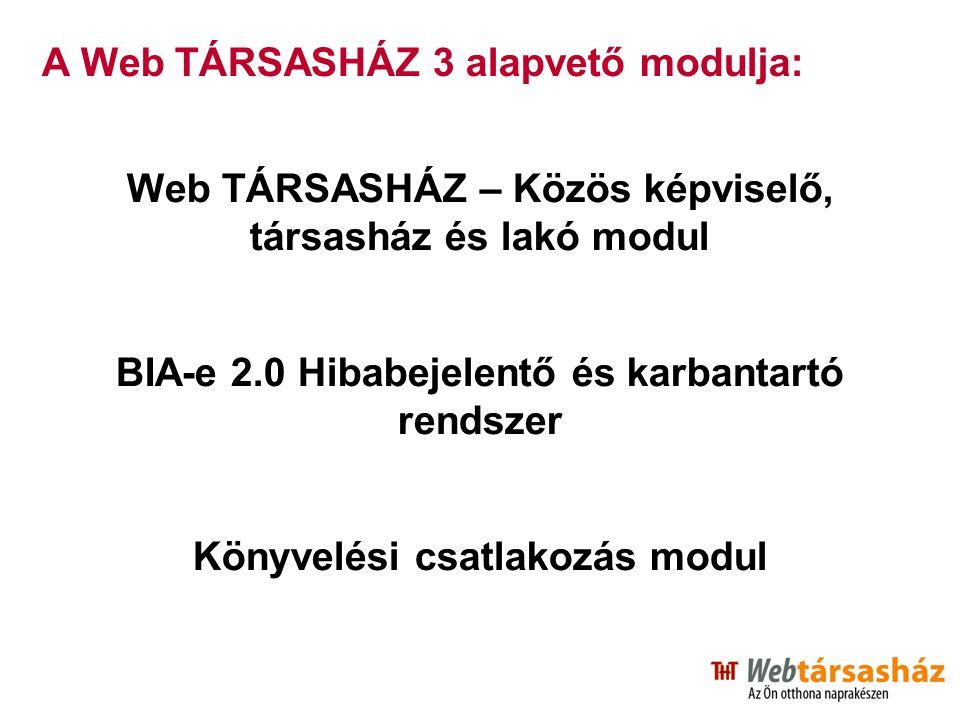 A Web TÁRSASHÁZ 3 alapvető modulja: