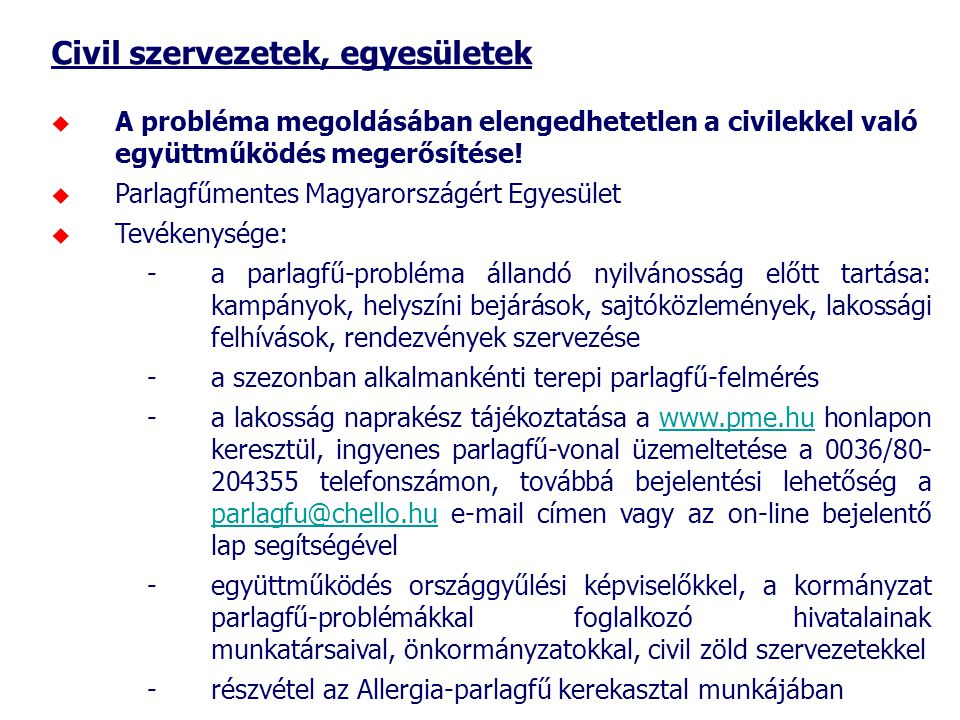 Civil szervezetek, egyesületek