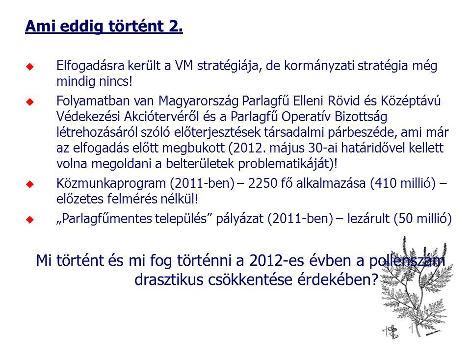 Ami eddig történt 2. Elfogadásra került a VM stratégiája, de kormányzati stratégia még mindig nincs!