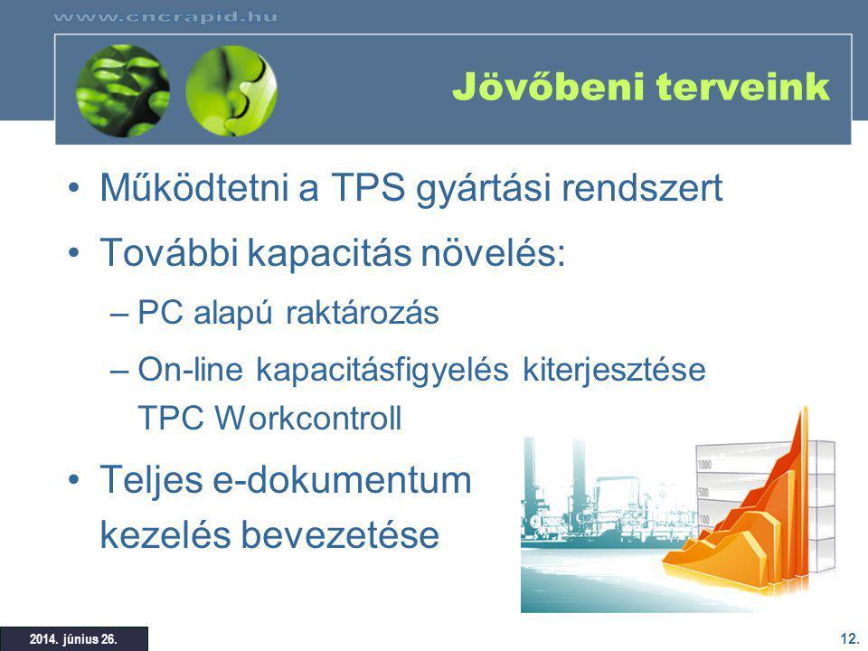 Működtetni a TPS gyártási rendszert További kapacitás növelés: