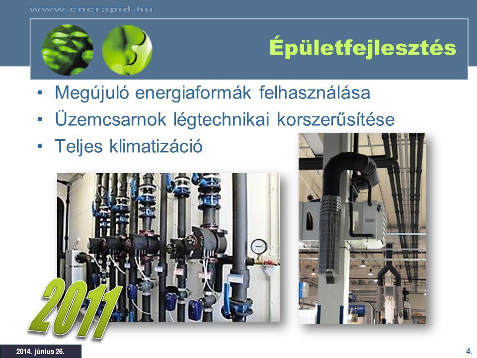2011 Épületfejlesztés Megújuló energiaformák felhasználása