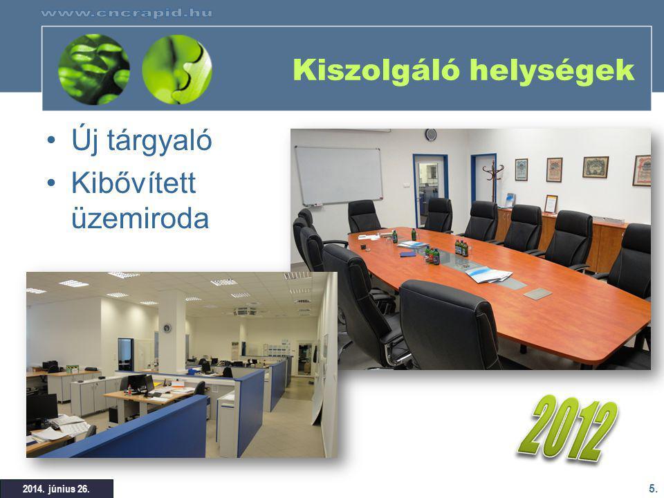 2012 Kiszolgáló helységek Új tárgyaló Kibővített üzemiroda