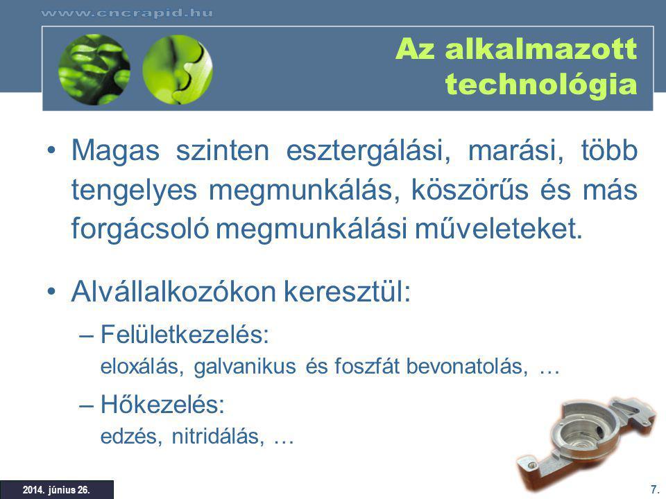 Az alkalmazott technológia
