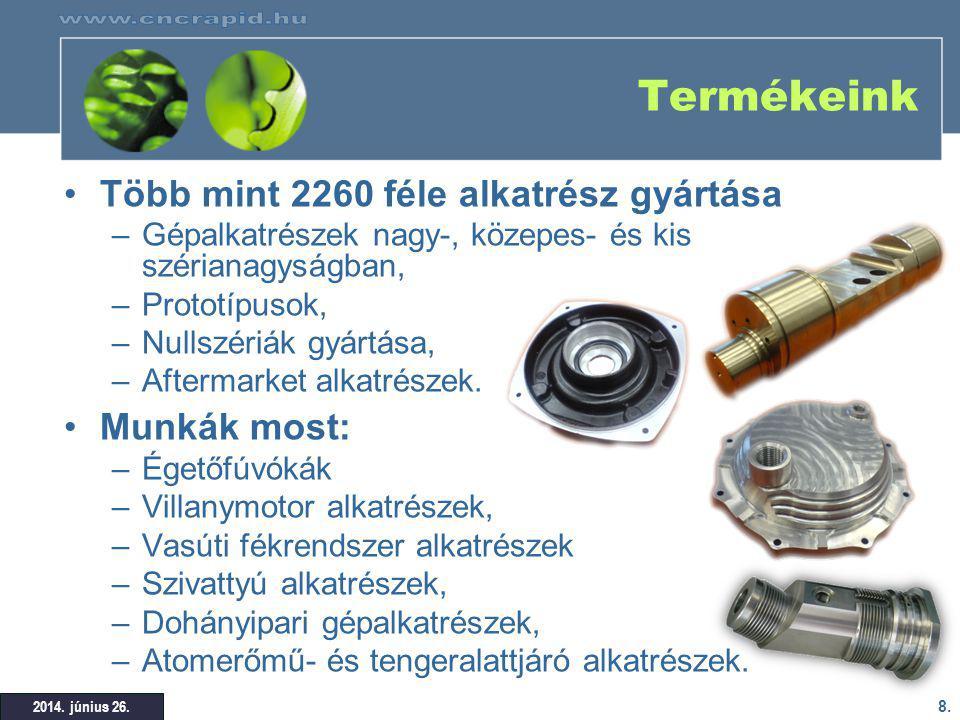 Termékeink Több mint 2260 féle alkatrész gyártása Munkák most: