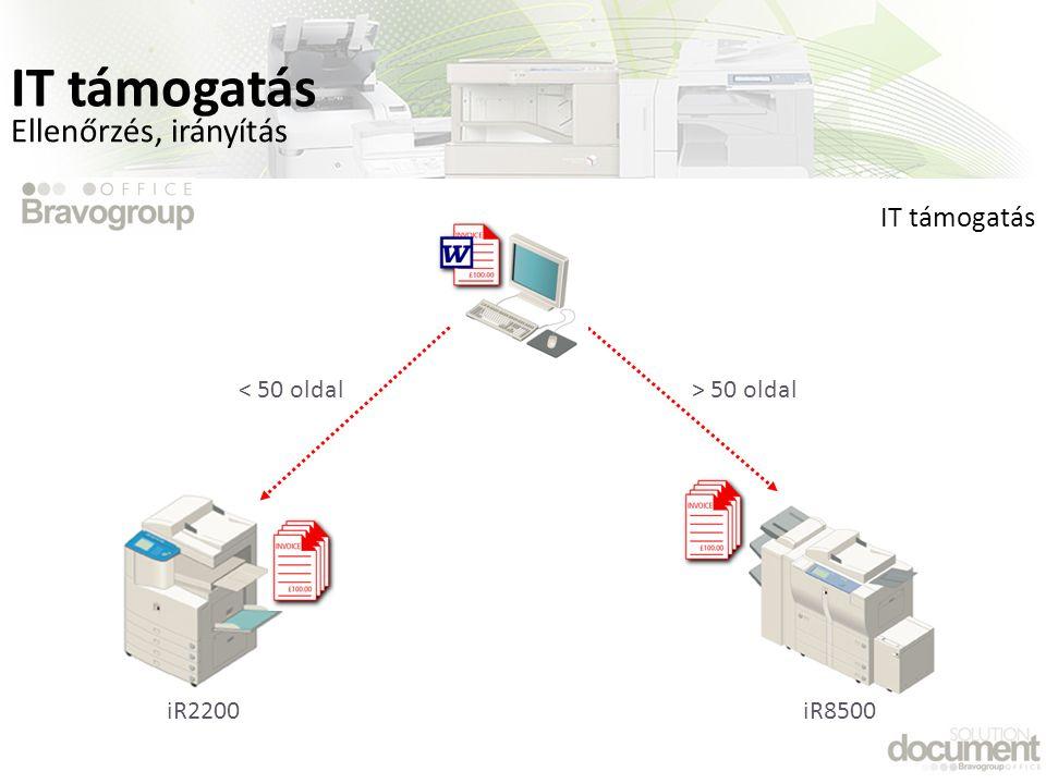 IT támogatás Ellenőrzés, irányítás IT támogatás < 50 oldal