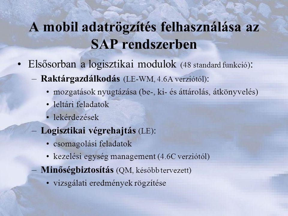 A mobil adatrögzítés felhasználása az SAP rendszerben