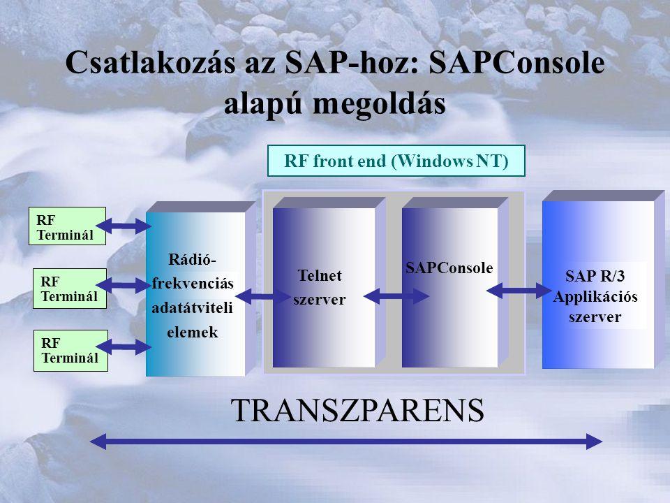 Csatlakozás az SAP-hoz: SAPConsole alapú megoldás
