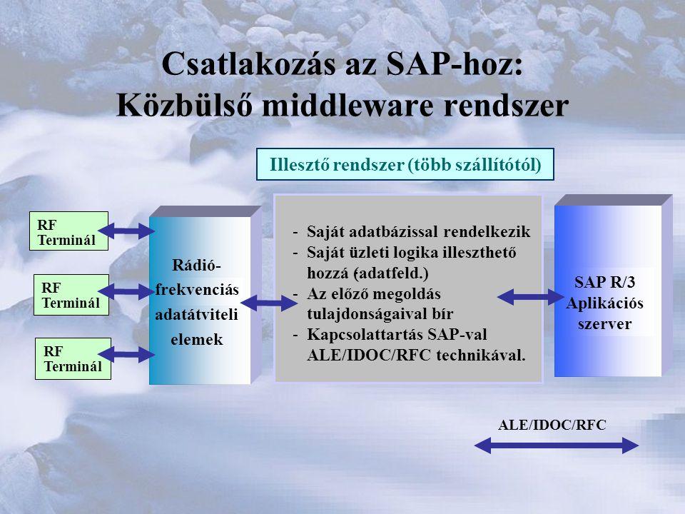 Csatlakozás az SAP-hoz: Közbülső middleware rendszer