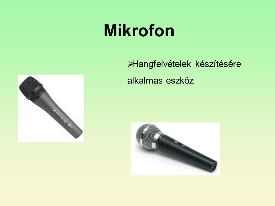 Mikrofon Hangfelvételek készítésére alkalmas eszköz