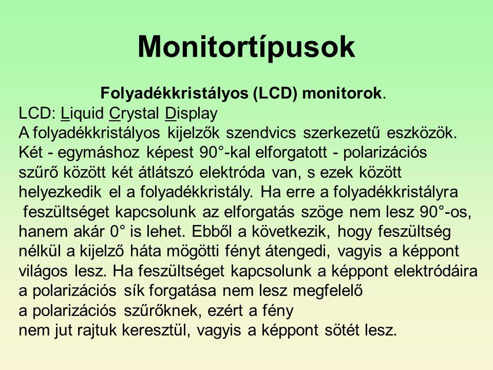 Monitortípusok Folyadékkristályos (LCD) monitorok.