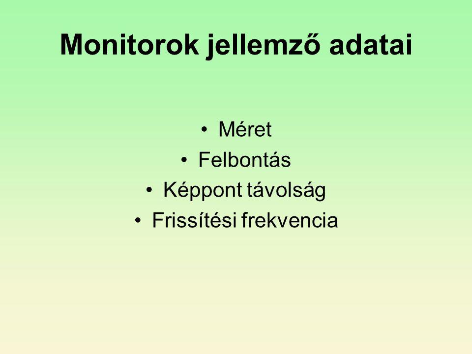 Monitorok jellemző adatai