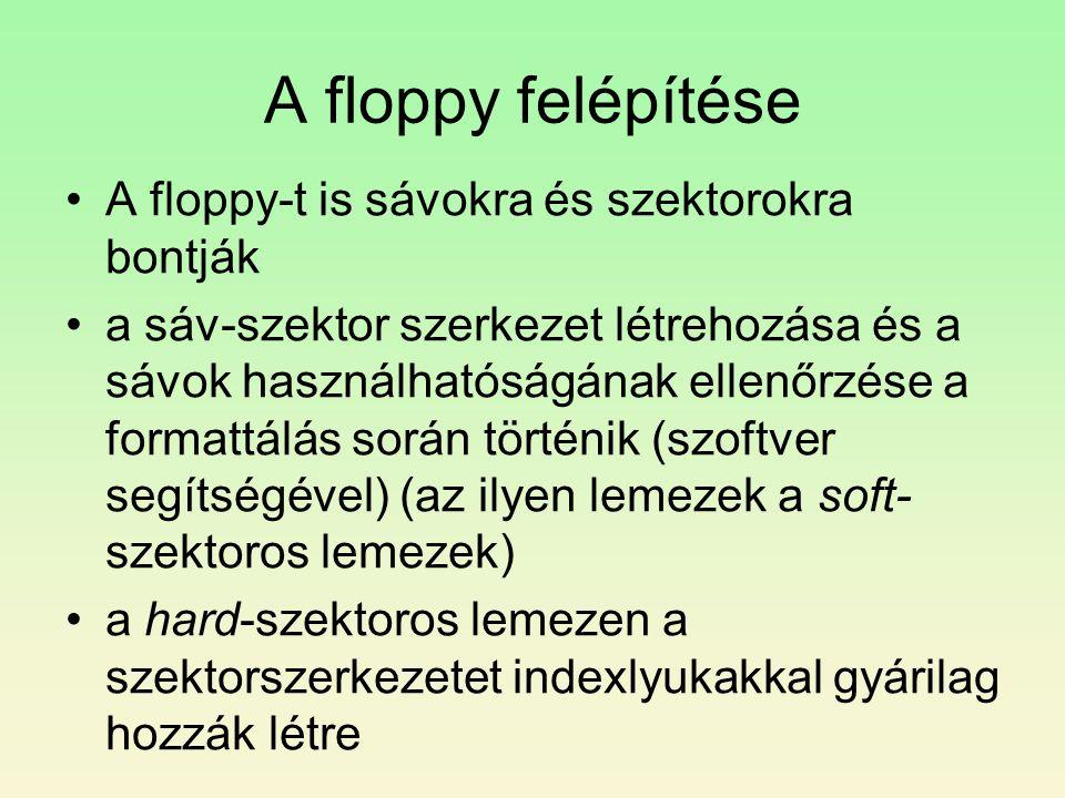 A floppy felépítése A floppy-t is sávokra és szektorokra bontják
