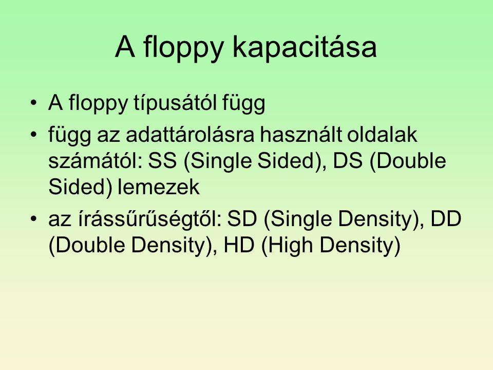 A floppy kapacitása A floppy típusától függ