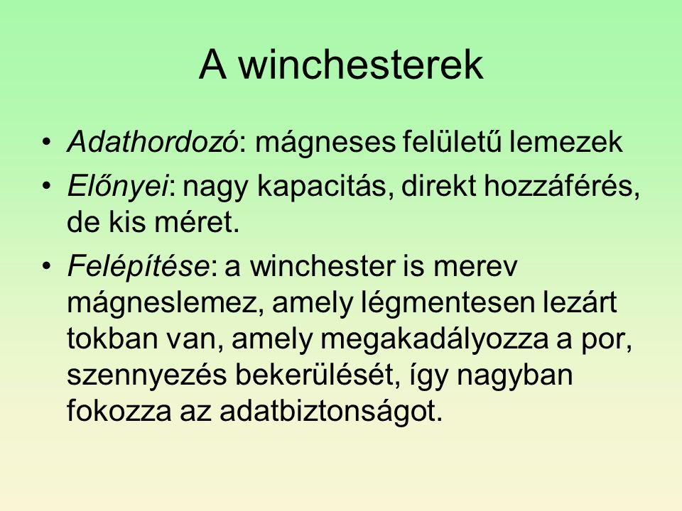 A winchesterek Adathordozó: mágneses felületű lemezek