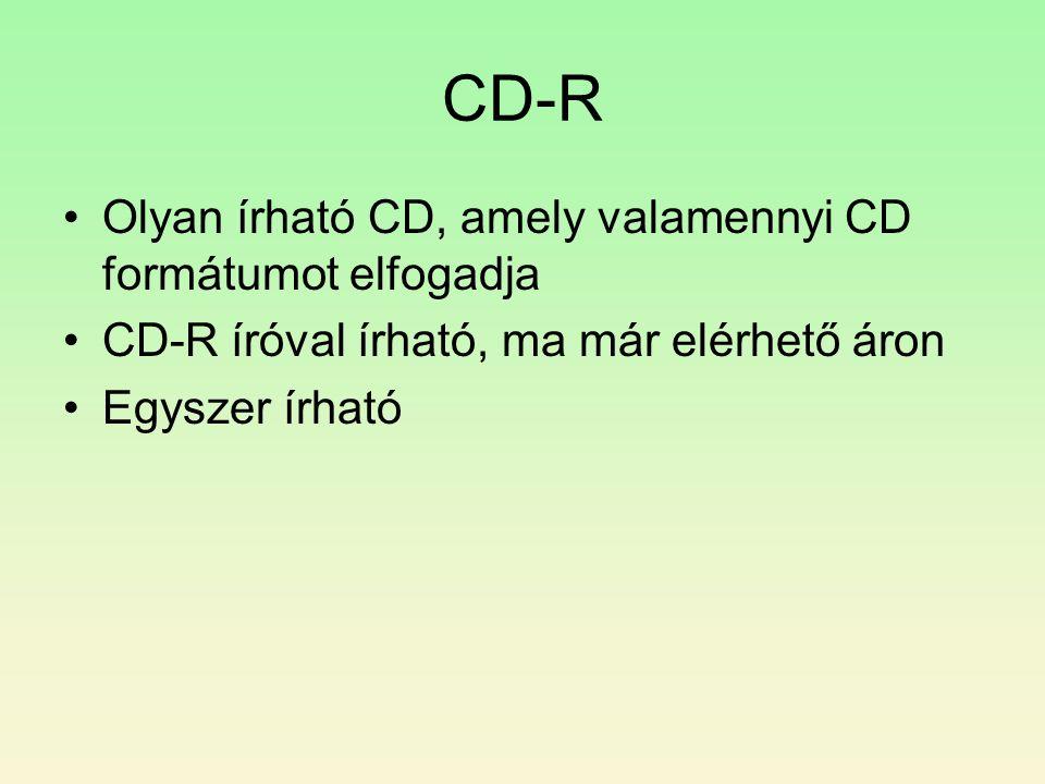 CD-R Olyan írható CD, amely valamennyi CD formátumot elfogadja