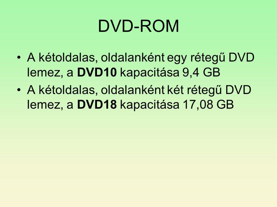 DVD-ROM A kétoldalas, oldalanként egy rétegű DVD lemez, a DVD10 kapacitása 9,4 GB.
