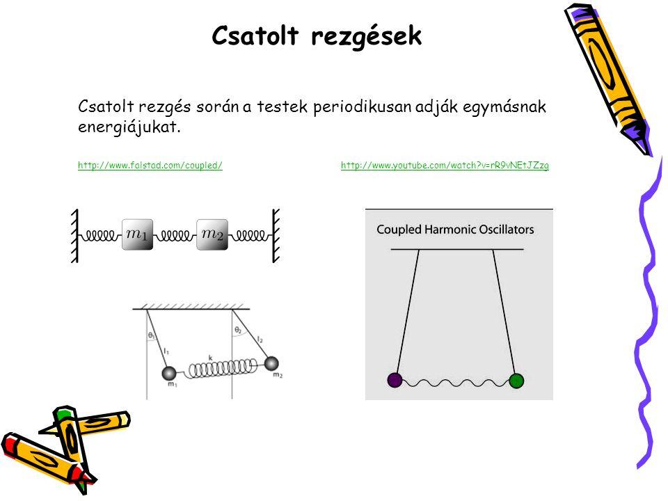 Csatolt rezgések Csatolt rezgés során a testek periodikusan adják egymásnak energiájukat. http://www.falstad.com/coupled/