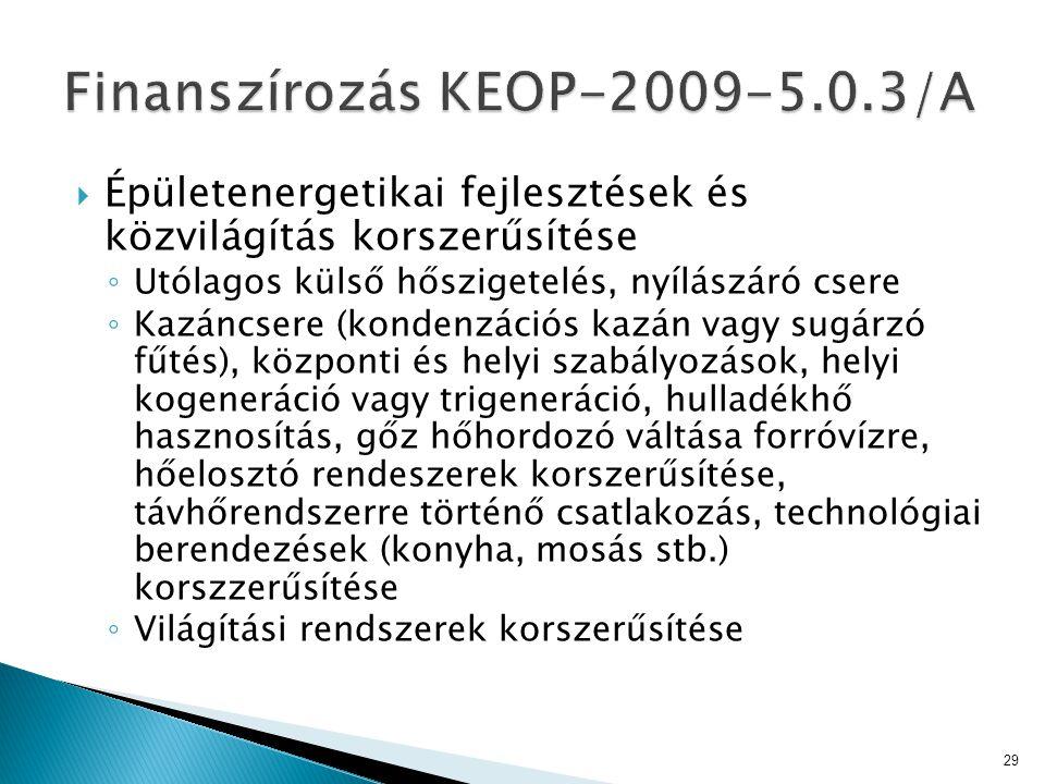 Finanszírozás KEOP-2009-5.0.3/A
