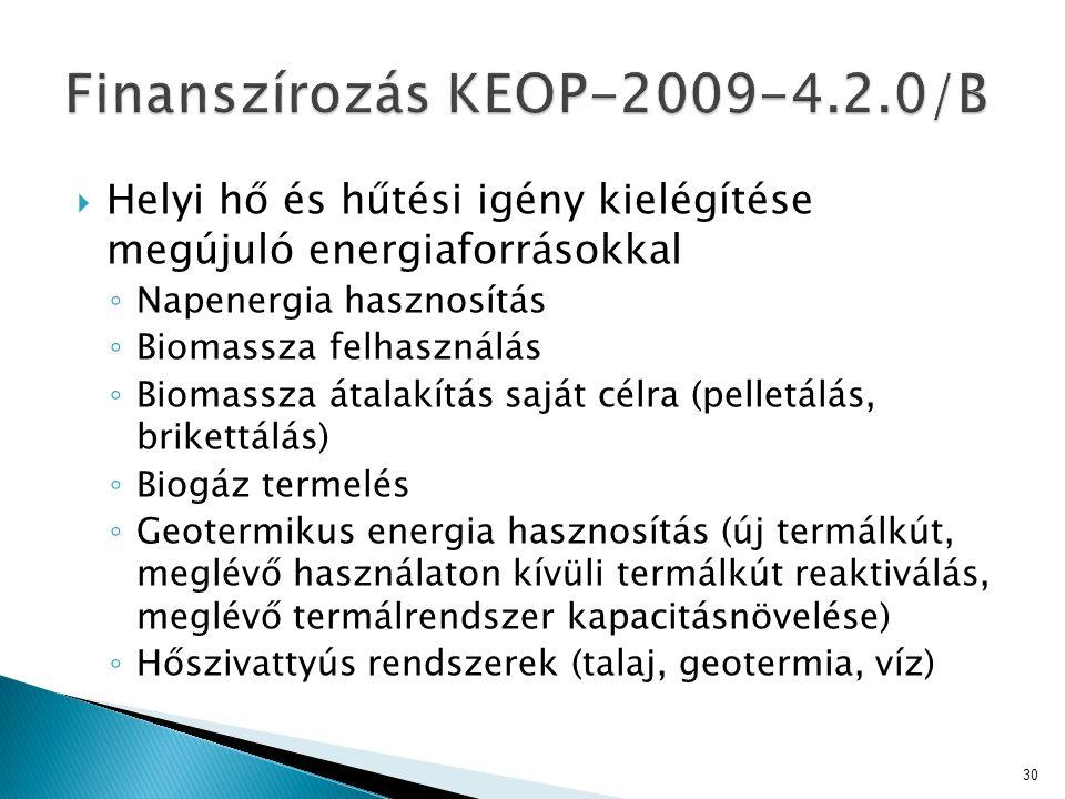 Finanszírozás KEOP-2009-4.2.0/B