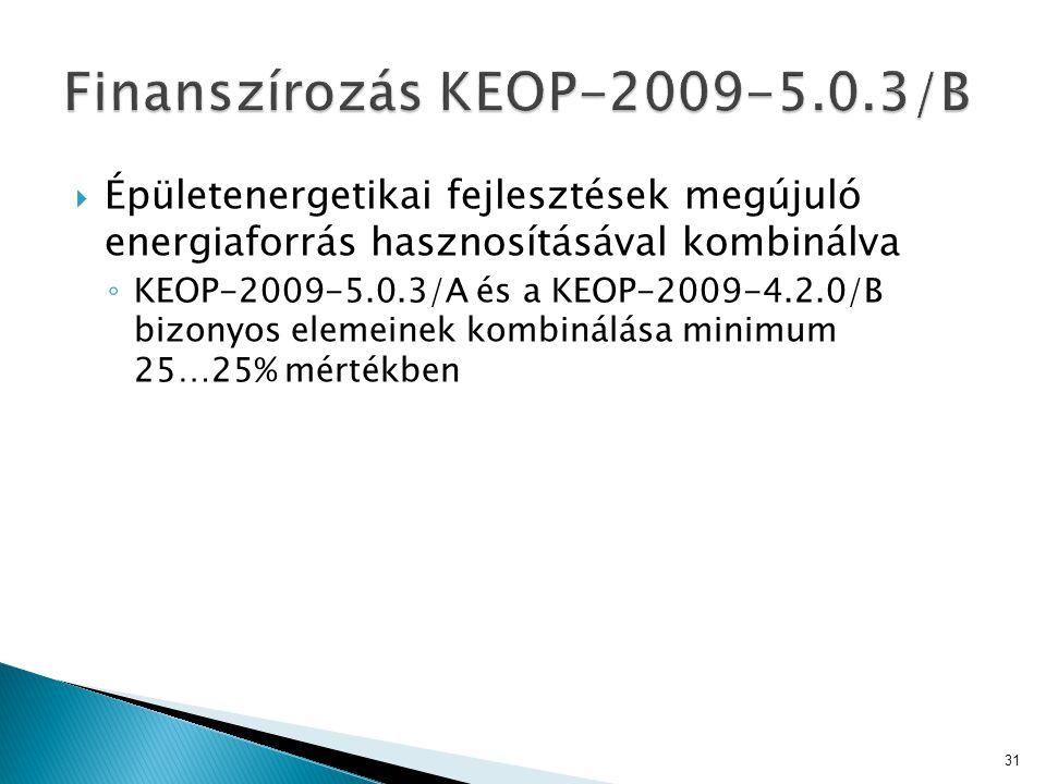Finanszírozás KEOP-2009-5.0.3/B