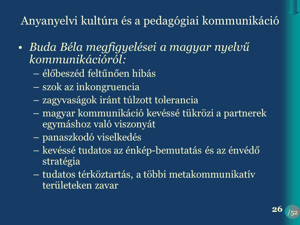 Anyanyelvi kultúra és a pedagógiai kommunikáció