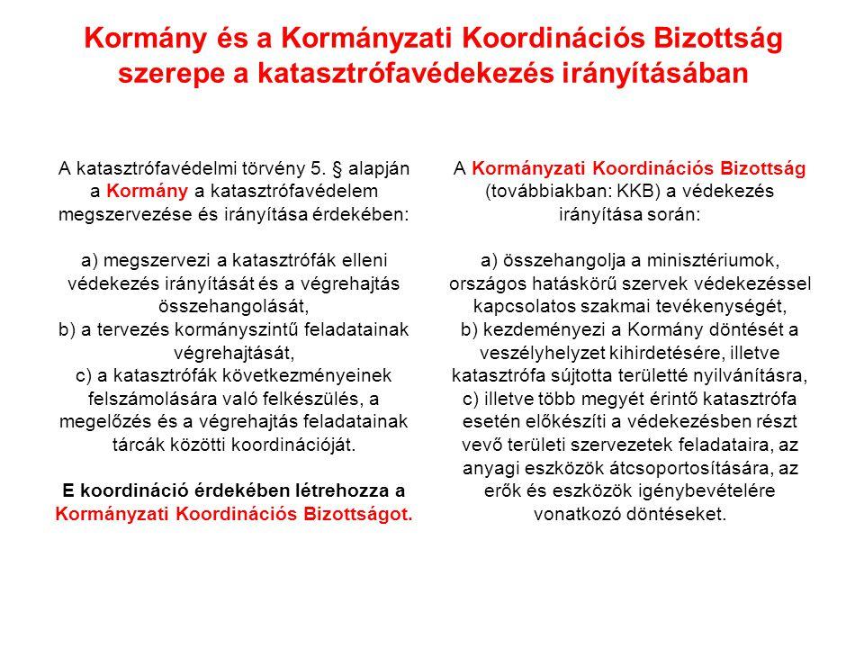 Kormány és a Kormányzati Koordinációs Bizottság szerepe a katasztrófavédekezés irányításában