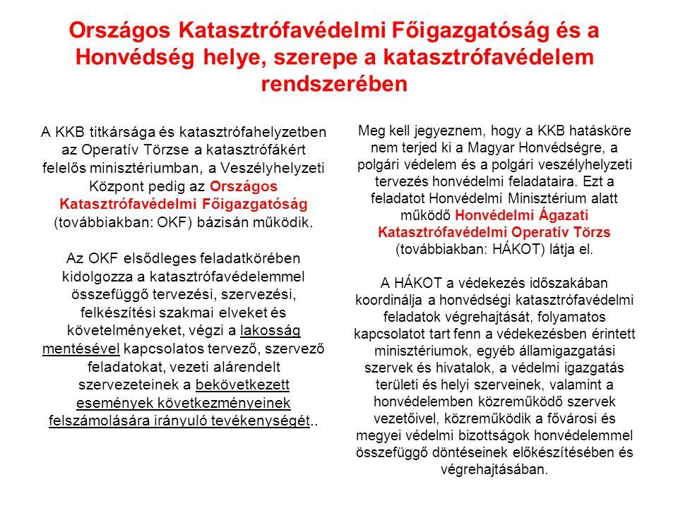 Országos Katasztrófavédelmi Főigazgatóság és a Honvédség helye, szerepe a katasztrófavédelem rendszerében