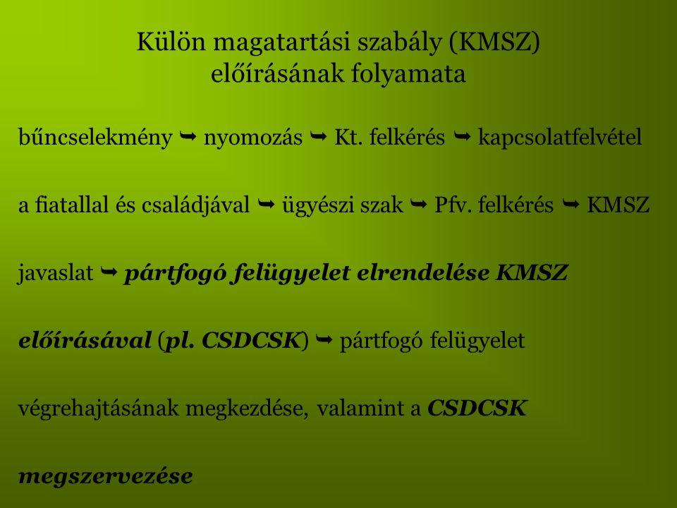 Külön magatartási szabály (KMSZ) előírásának folyamata