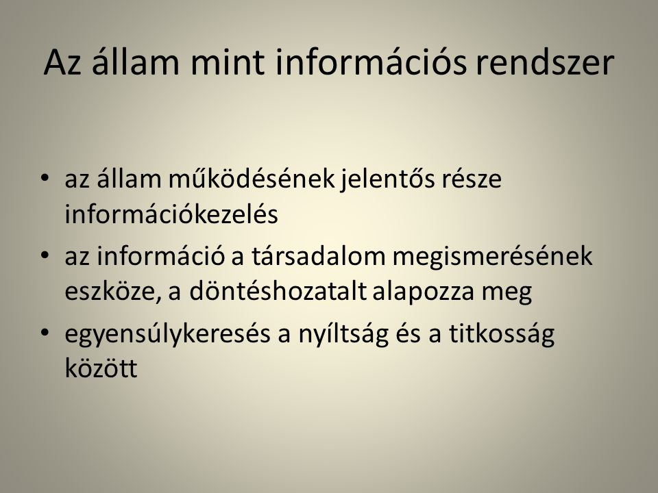 Az állam mint információs rendszer