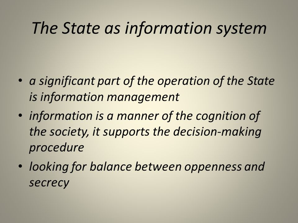 The State as information system