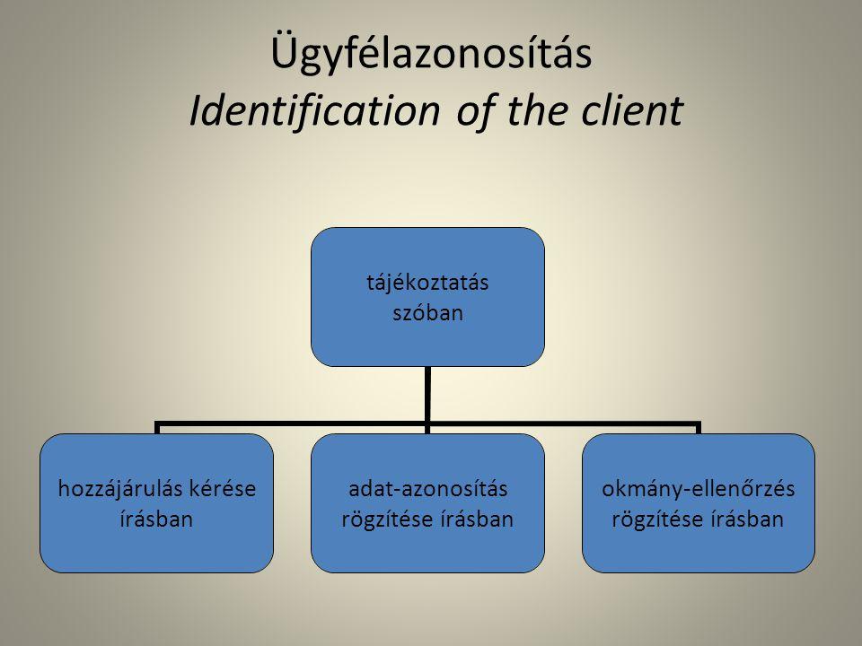 Ügyfélazonosítás Identification of the client