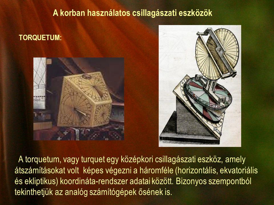 A korban használatos csillagászati eszközök