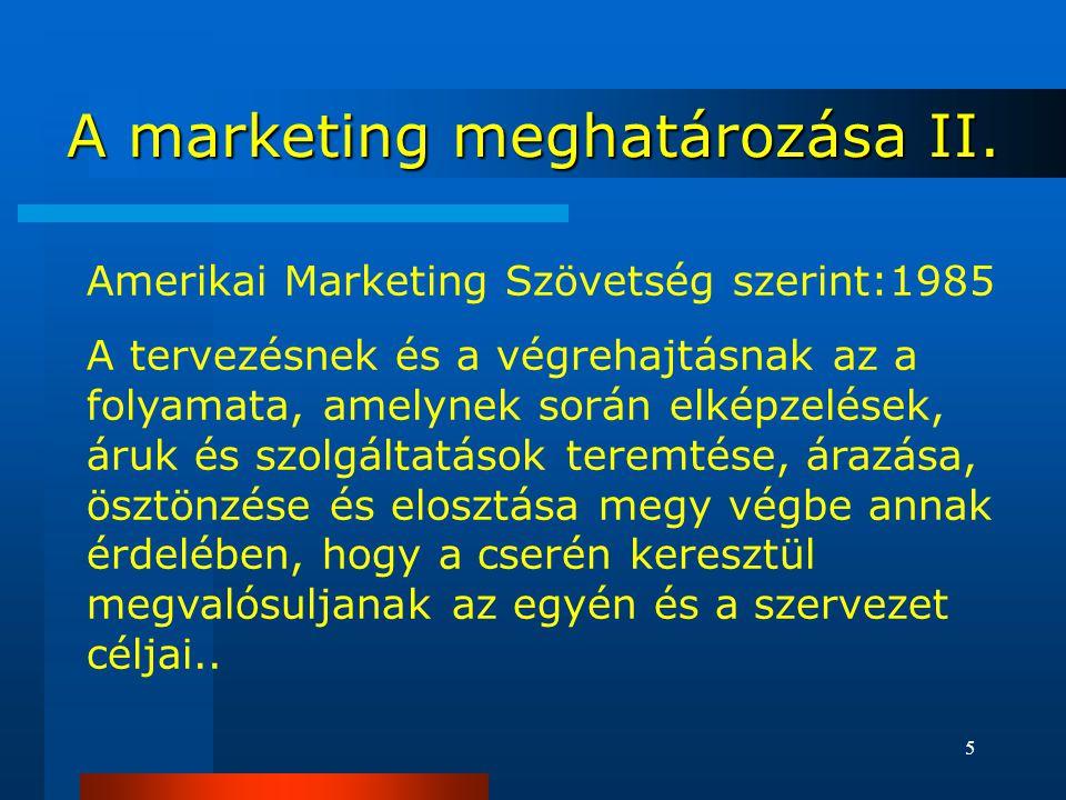 A marketing meghatározása II.