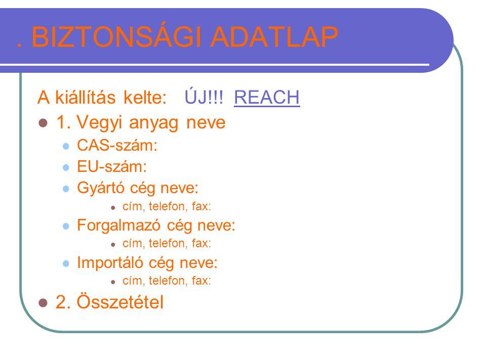 . BIZTONSÁGI ADATLAP A kiállítás kelte: ÚJ!!! REACH