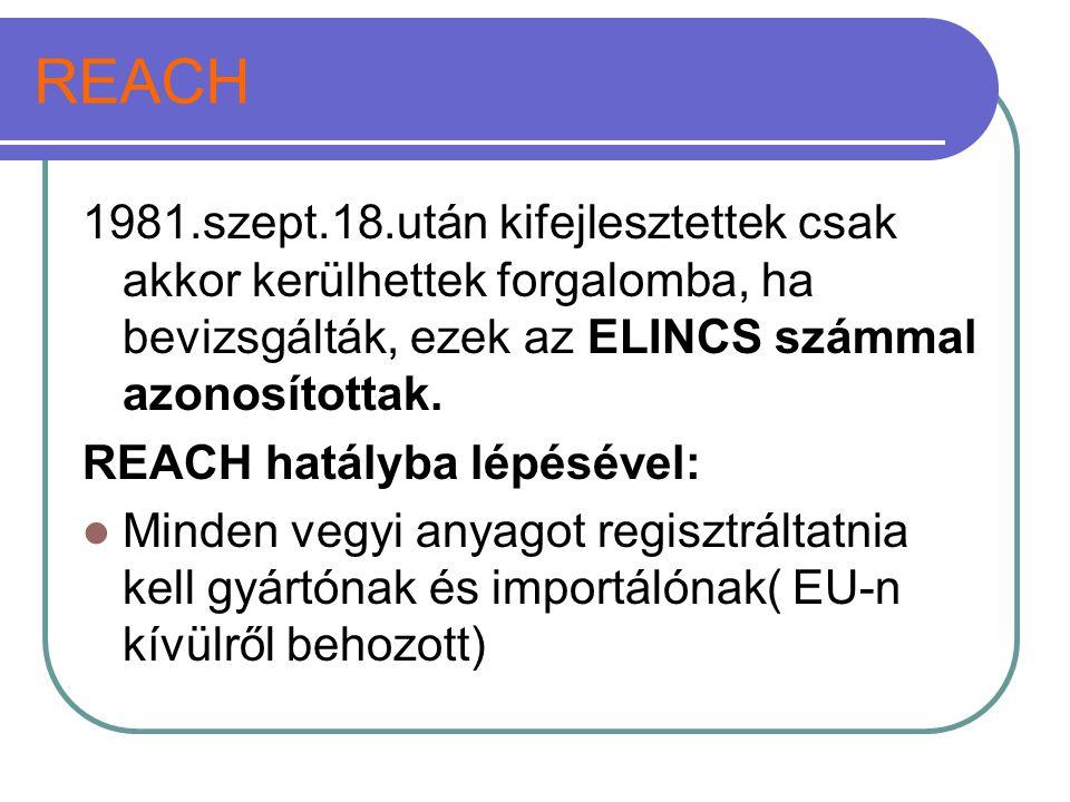REACH 1981.szept.18.után kifejlesztettek csak akkor kerülhettek forgalomba, ha bevizsgálták, ezek az ELINCS számmal azonosítottak.