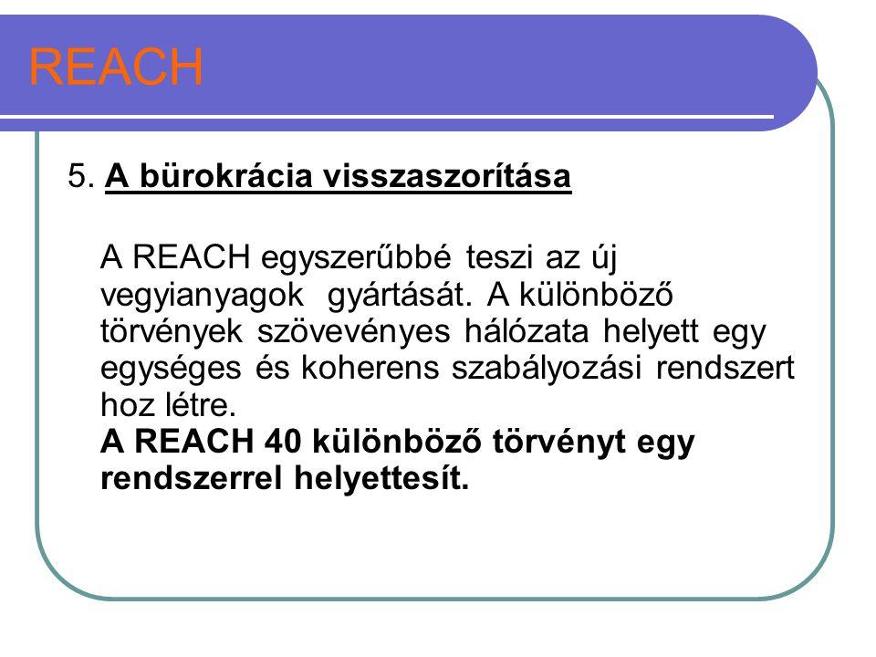 REACH 5. A bürokrácia visszaszorítása