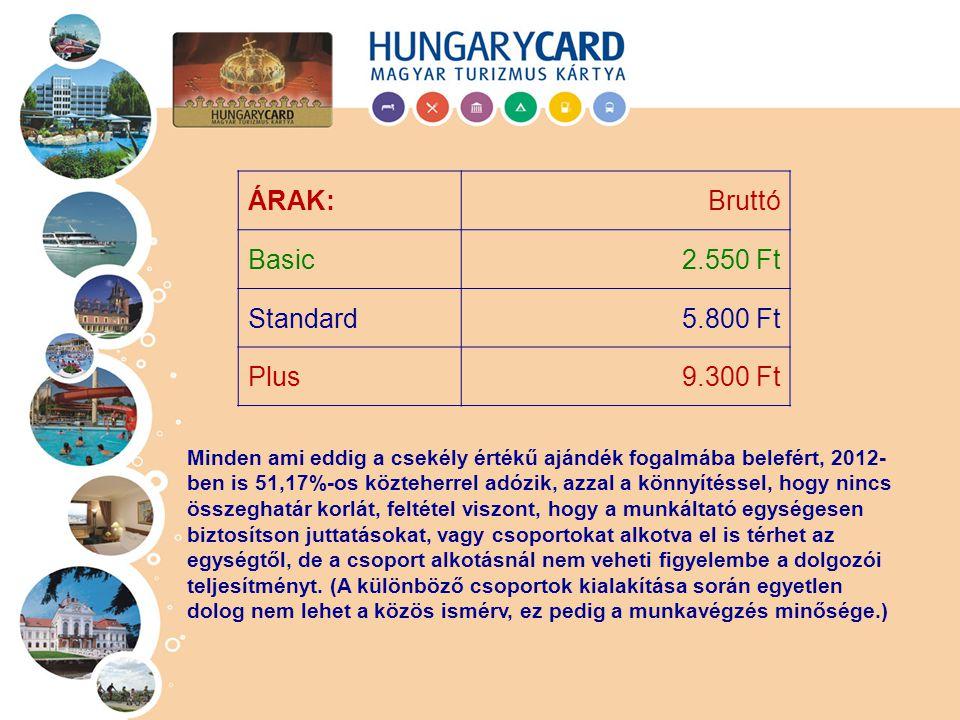 ÁRAK: Bruttó Basic 2.550 Ft Standard 5.800 Ft Plus 9.300 Ft