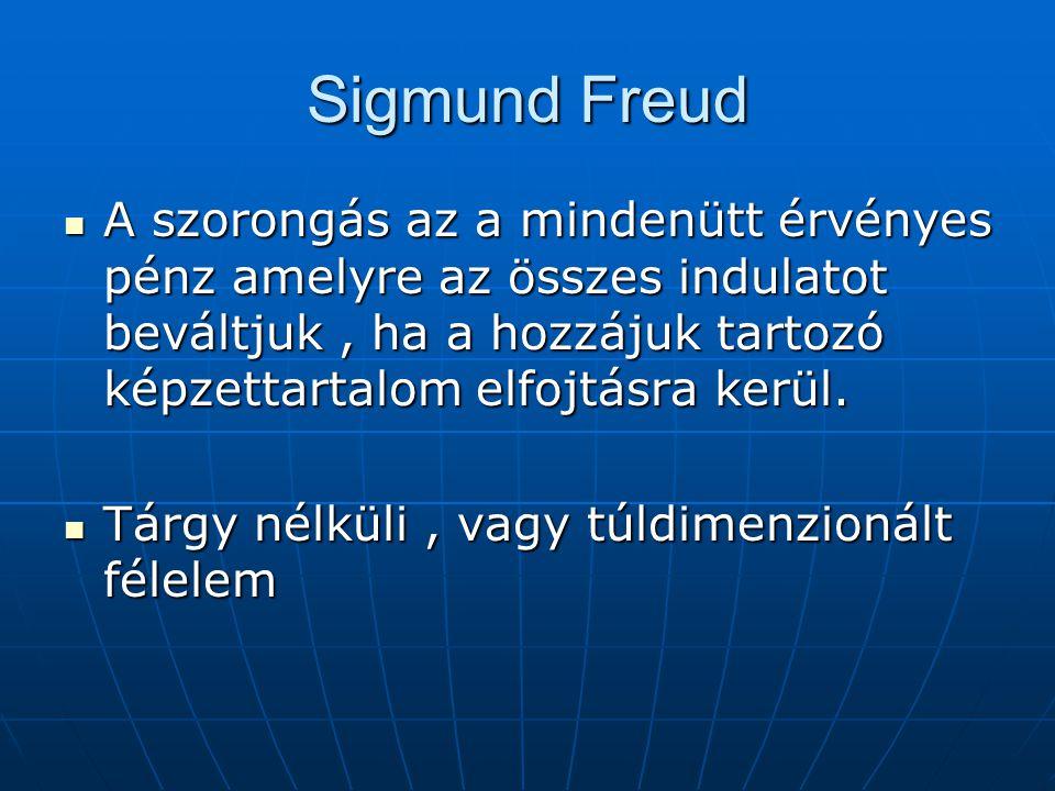 Sigmund Freud A szorongás az a mindenütt érvényes pénz amelyre az összes indulatot beváltjuk , ha a hozzájuk tartozó képzettartalom elfojtásra kerül.