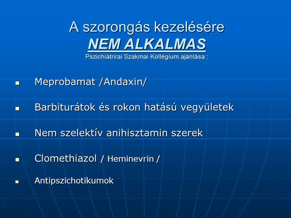 A szorongás kezelésére NEM ALKALMAS Pszichiátrirai Szakmai Kollégium ajánlása :