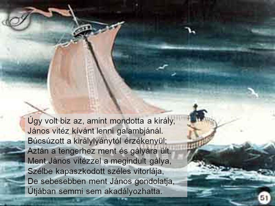 Úgy volt biz az, amint mondotta a király, János vitéz kívánt lenni galambjánál. Búcsúzott a királylyánytól érzékenyül; Aztán a tengerhez ment és gályára ült.