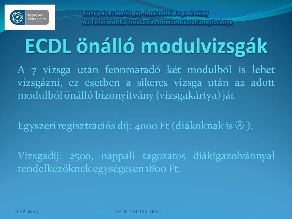 ECDL önálló modulvizsgák