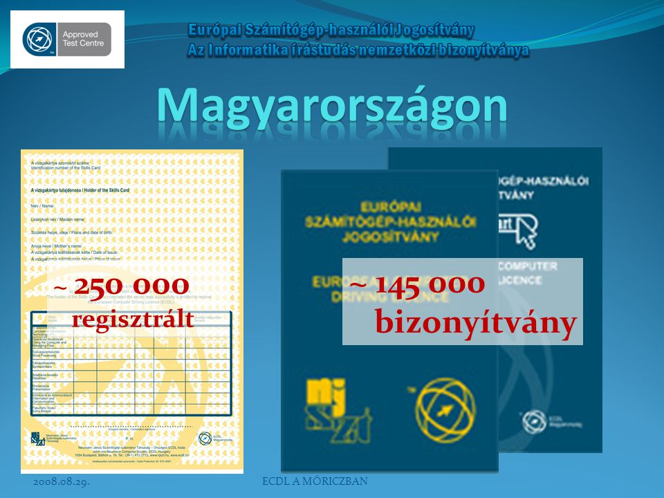 Magyarországon ~ 145 000 bizonyítvány ~ 250 000 regisztrált