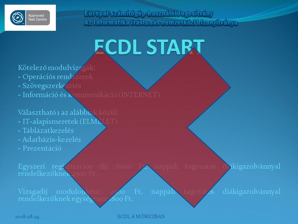 ECDL START Kötelező modulvizsgák: - Operációs rendszerek