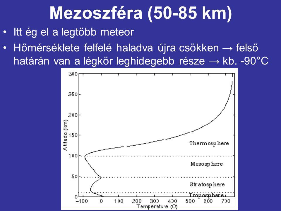 Mezoszféra (50-85 km) Itt ég el a legtöbb meteor