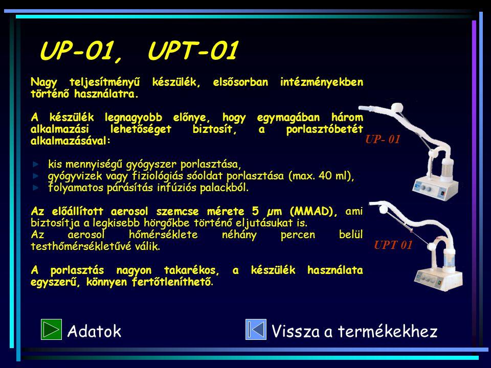 UP-01, UPT-01 Adatok Vissza a termékekhez UP- 01 UPT 01