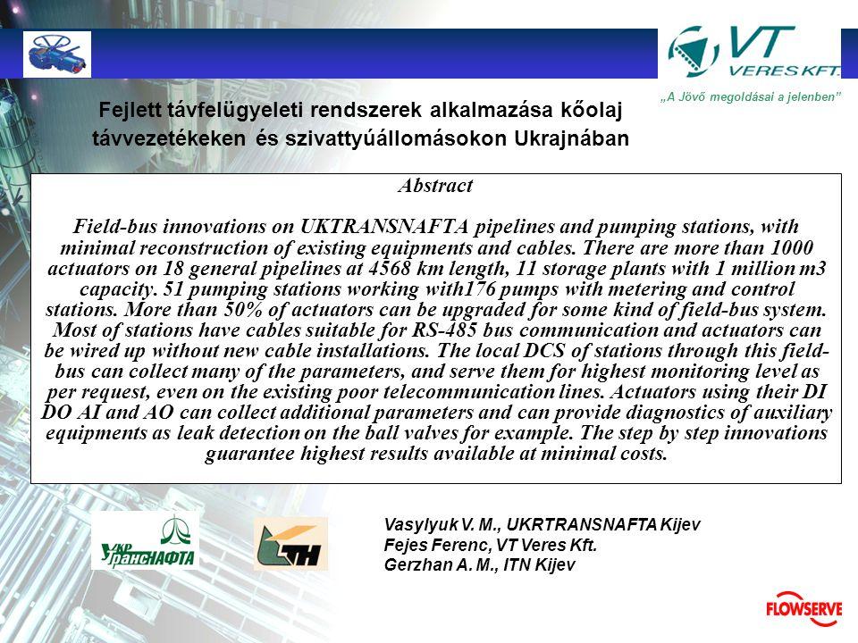 Fejlett távfelügyeleti rendszerek alkalmazása kőolaj távvezetékeken és szivattyúállomásokon Ukrajnában