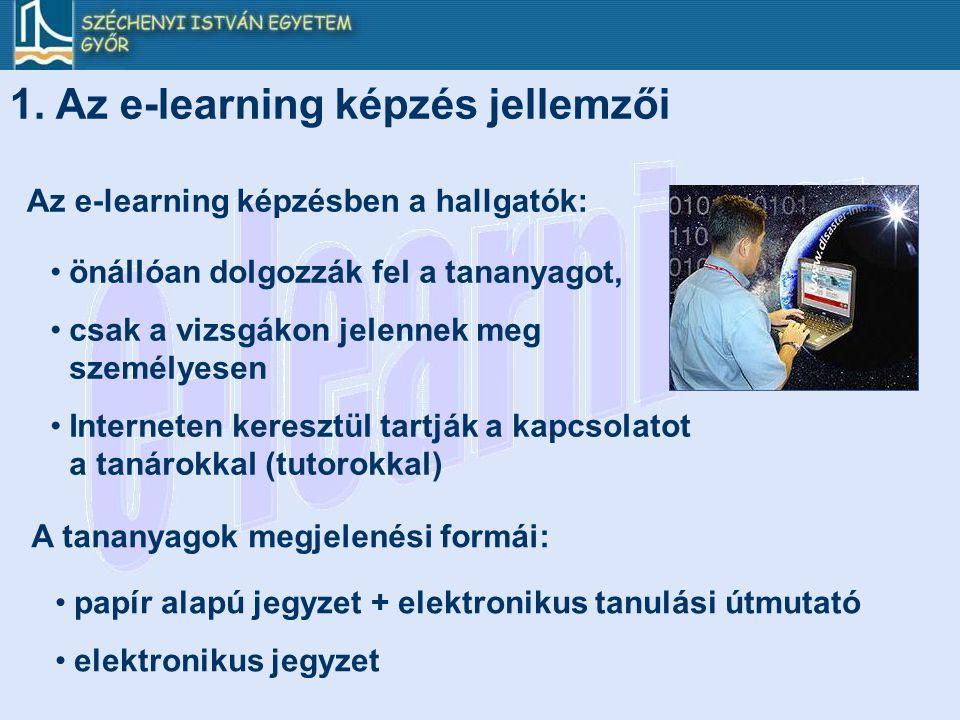 1. Az e-learning képzés jellemzői