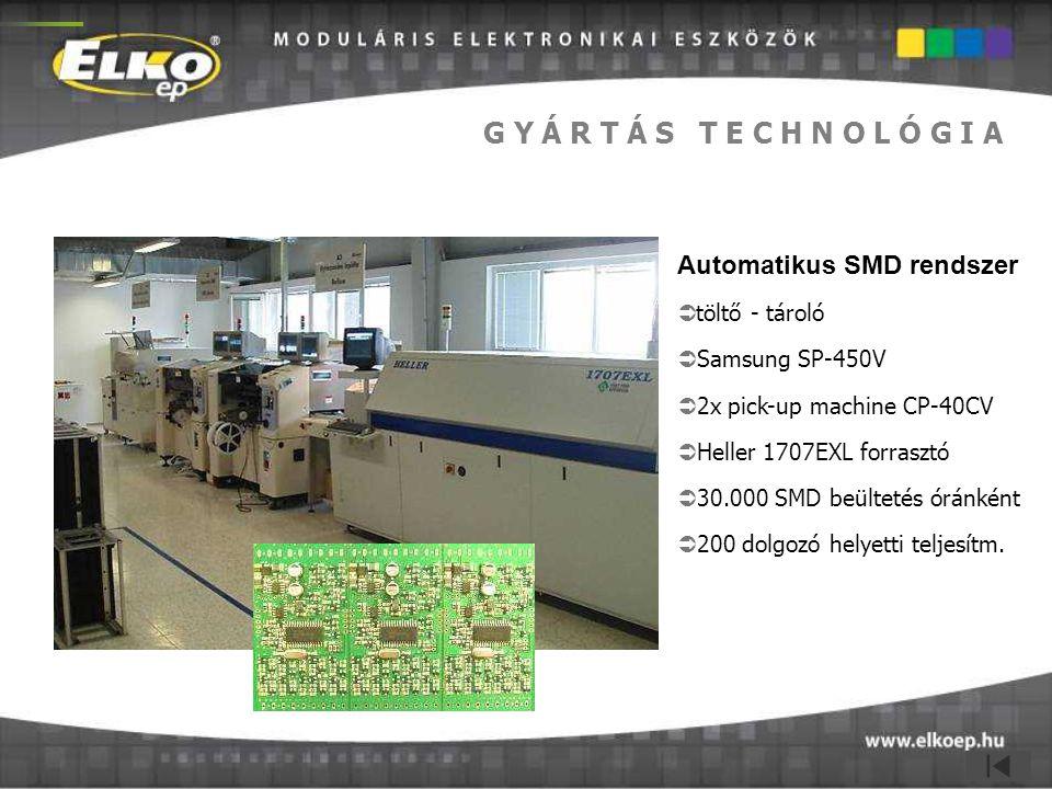 G Y Á R T Á S T E C H N O L Ó G I A Automatikus SMD rendszer