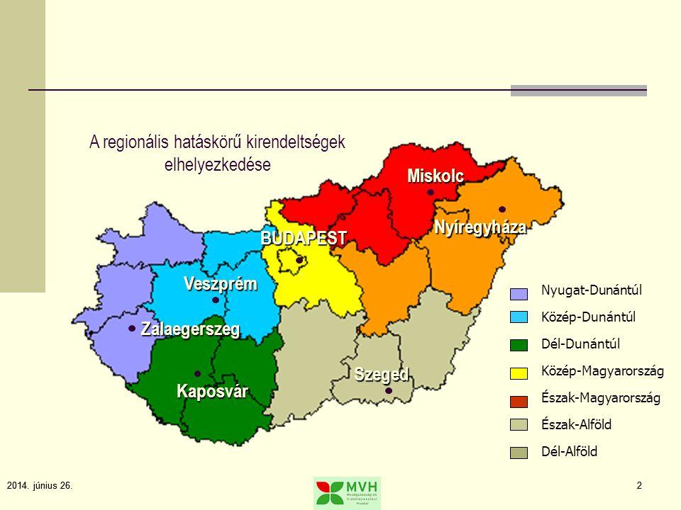 A regionális hatáskörű kirendeltségek elhelyezkedése